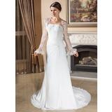 A-Line/Princess Strapless Court Train Chiffon Wedding Dress With Ruffle Lace Beading