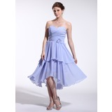 A-Line/Princess Sweetheart Asymmetrical Chiffon Bridesmaid Dress With Ruffle Flower(s) (007026264)