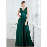 A-Line/Princess V-neck Floor-Length Chiffon Bridesmaid Dress With Ruffle Beading