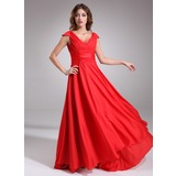 A-Line/Princess V-neck Sweep Train Chiffon Tulle Bridesmaid Dress With Ruffle (007016838)