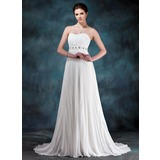 Empire Sweetheart Sweep Train Chiffon Wedding Dress With Ruffle Beadwork Sequins (002012199)