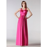 Empire Halter Floor-Length Charmeuse Bridesmaid Dress With Ruffle (007005195)