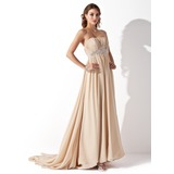 Empire Strapless Court Train Chiffon Wedding Dress With Ruffle Beadwork (002000454)