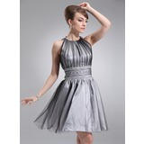A-Line/Princess Scoop Neck Short/Mini Tulle Homecoming Dress With Ruffle Beading (022020684)