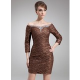 Sheath/Column Off-the-Shoulder Short/Mini Lace Mother of the Bride Dress With Ruffle Beading