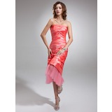 Sheath Strapless Tea-Length Taffeta Tulle Prom Dress With Ruffle (018020863)