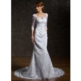 Mermaid V-neck Chapel Train Satin Lace Wedding Dress With Beadwork (002011518)