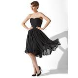 Forme Princesse Bustier en coeur Longueur genou Mousseline Petite robe noir avec Plissé