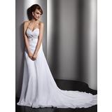 Forme Princesse Bustier en coeur Traîne mi-longue Mousseline Robe de mariée avec Plissé Emperler Sequins