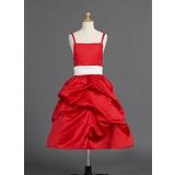 Forme Princesse Longueur mollet Robes à Fleurs pour Filles - Satiné Sans manches avec Ceintures/À ruban(s)/Ramassage Jupe