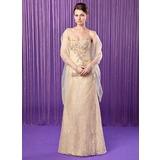 Etui-Linie Herzausschnitt Bodenlang Spitze Kleid für die Brautmutter mit Perlen verziert Pailletten