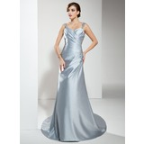 A-Line/Princess Sweetheart Court Train Satin Wedding Dress With Ruffle Lace Beading