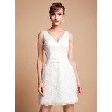 Sheath/Column V-neck Short/Mini Lace Wedding Dress