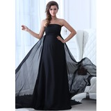 Empire Strapless Watteau Train Chiffon Holiday Dress With Ruffle (020017376)