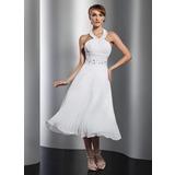 A-Line/Princess Halter Tea-Length Chiffon Homecoming Dress With Beading Pleated