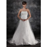 Empire Strapless Watteau Train Tulle Charmeuse Wedding Dress With Lace Beadwork (002016930)