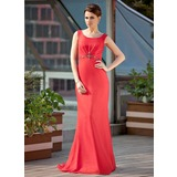 Sheath Scoop Neck Sweep Train Chiffon Mother of the Bride Dress With Ruffle Beading (008018968)