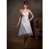 Empire Sweetheart Tea-Length Organza Homecoming Dress With Ruffle Beading Sequins (022010468)