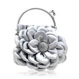 (Silver)Satin With Shining Rhinestones Evening Handbags/ Clutches/ Top Handle Bags (012013564)