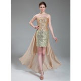 Sheath Strapless Asymmetrical Chiffon Satin Prom Dress With Beading Sequins (018018895)