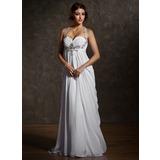 Empire-Linie Herzausschnitt Sweep/Pinsel zug Chiffon Brautkleid mit Rüschen Perlen verziert