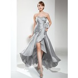 A-Line/Princess Sweetheart Asymmetrical Taffeta Prom Dress With Ruffle Beading (018020799)