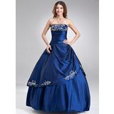 A-Linie/Princess-Linie Trägerlos Bodenlang Taft Quinceañera Kleid (Kleid für die Geburtstagsfeier) mit Bestickt Rüschen Perlen verziert