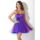 Empire Sweetheart Short/Mini Tulle Homecoming Dress With Ruffle Beading Flower(s)