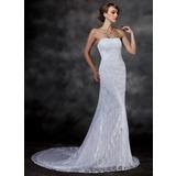 Trumpet/Mermaid Sweetheart Chapel Train Lace Wedding Dress