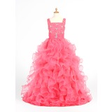 A-Line/Princess Scoop Neck Floor-Length Organza Flower Girl Dress With Beading Cascading Ruffles (010005873)