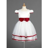 A-Line/Princess Knee-length Flower Girl Dress - Organza/Satin Short Sleeves Scoop Neck With Sash/Beading/Bow(s)