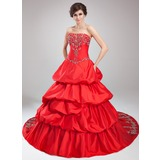 Ball-Gown Strapless Cathedral Train Taffeta Quinceanera Dress With Embroidered Ruffle Beading