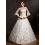 Ball-Gown V-neck Floor-Length Tulle Wedding Dress With Lace Beading