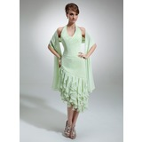 Sheath Halter Asymmetrical Chiffon Bridesmaid Dress With Ruffle (007001017)