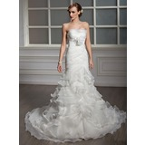 Trumpet/Mermaid Strapless Chapel Train Satin Organza Wedding Dress With Cascading Ruffles