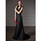 Sheath V-neck Sweep Train Taffeta Bridesmaid Dress With Ruffle (007004214)
