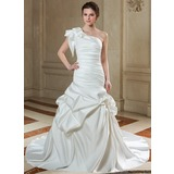 Trumpet/Mermaid One-Shoulder Chapel Train Satin Wedding Dress With Ruffle