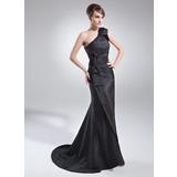 Trompete/Meerjungfrau-Linie One-Shoulder-Träger Sweep/Pinsel zug Taft Kleid für die Brautmutter mit Rüschen Schleife(n)