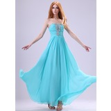 A-Line/Princess Scalloped Neck Floor-Length Chiffon Organza Evening Dress With Ruffle Beading (017014386)
