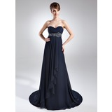 Empire Sweetheart Court Train Chiffon Mother of the Bride Dress With Ruffle Beading Cascading Ruffles