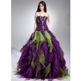 Duchesse-Linie Wellenkante Bodenlang Organza Quinceañera Kleid (Kleid für die Geburtstagsfeier) mit Perlen verziert Gestufte Rüschen
