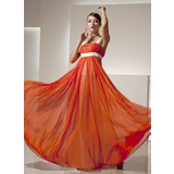 Empire Square Neckline Floor-Length Chiffon Holiday Dress With Ruffle Sash