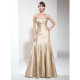 Trumpet/Mermaid Strapless Floor-Length Taffeta Bridesmaid Dress With Ruffle Bow(s)