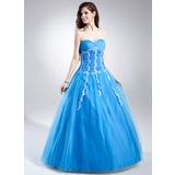 Duchesse-Linie Herzausschnitt Bodenlang Tüll Quinceañera Kleid (Kleid für die Geburtstagsfeier) mit Rüschen Perlen verziert Applikationen Spitze Pailletten