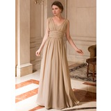 A-Line/Princess V-neck Floor-Length Chiffon Mother of the Bride Dress With Ruffle (008024440)