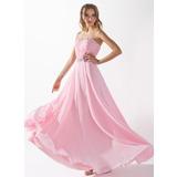 A-Linie/Princess-Linie Herzausschnitt Bodenlang Chiffon Abendkleid mit Rüschen Perlen verziert