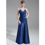 A-Line/Princess V-neck Floor-Length Taffeta Bridesmaid Dress With Ruffle