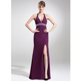 Sheath Halter Sweep Train Chiffon Prom Dress With Beading (018004886)