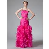 Trumpet/Mermaid Strapless Floor-Length Organza Prom Dress With Beading Cascading Ruffles