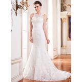 Trumpet/Mermaid Scoop Neck Court Train Lace Wedding Dress With Beading Sequins (002051617)